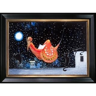 Justyna Kopania 'Night (Moon Over The City)' Hand Painted Framed Canvas Art