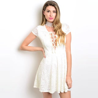 Shop the Trends Women's Cap Sleeve Fit And Flare Lace Dress With Plunging Lace Up Neckline