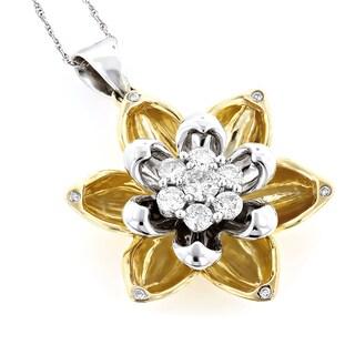 Luxurman 10k Gold 3/4ct TDW Unique Gold Diamond Flower Pendant (G-H, VS1-VS2)