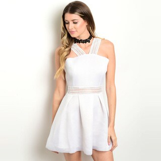 Shop the Trends Women's Sleeveless A-Line Dress With Strap Detail Along Yoke And Cutout Along Waist