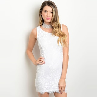 Shop the Trends Women's Sleeveless Lace Bodycon Dress With Full Lining And Scalloped Hem