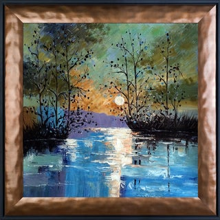 Justyna Kopania 'River, with Glowing Moon' Hand Painted Framed Canvas Art