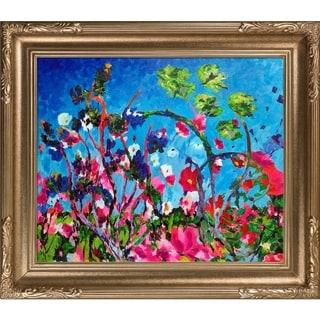 Celito Medeiros 'Bright Meadow' Hand Painted Framed Canvas Art
