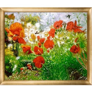 Celito Medeiros 'Floral Meadow' Hand Painted Framed Canvas Art