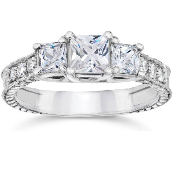 14k White Gold 1 1/2ct TDW Vintage Three Stone Princess Cut Diamond Engagement Ring