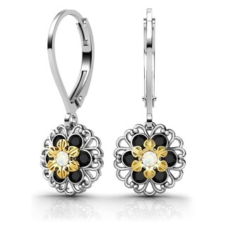 Lucia Costin Sterling Silver White/ Black Swarovski Crystal Earrings