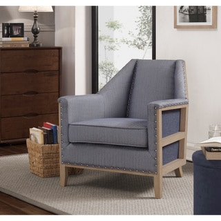 Hobert Blue Herringbone Mid Century Deconstructed Arm Chair