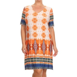 MOA Collection Women's Paisley Plus-size Short Dress