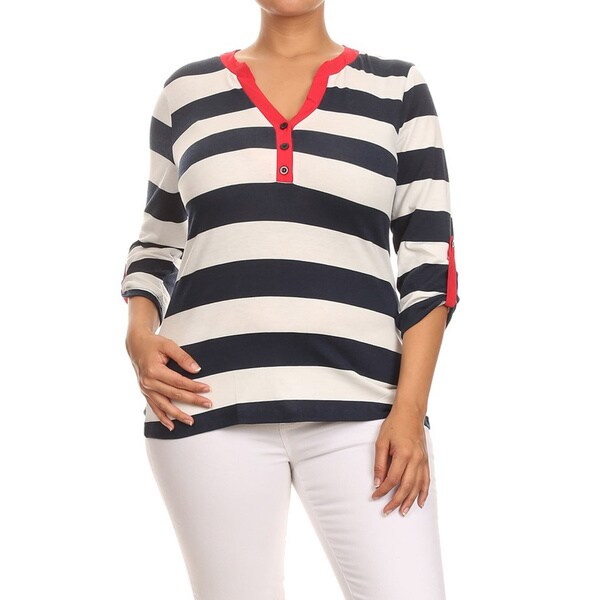 884728afda2 Shop MOA Collection Women s Blue White Plus Size Striped Top - Free ...