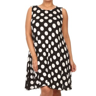 MOA Collection Women's White Polka-dot Rayon/Spandex Plus Size Polka Dot Top/Dress