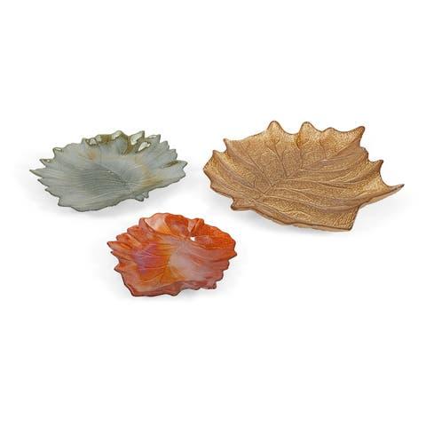 Harvest Leaves Glass Plates - Set of 3