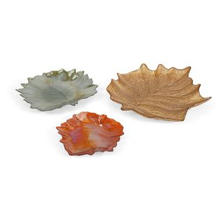 Harvest Leaves Glass Plates - Set of 3