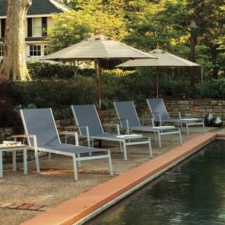 Oxford Garden Travira 8 Piece Natural Tekwood Chaise Lounge Set