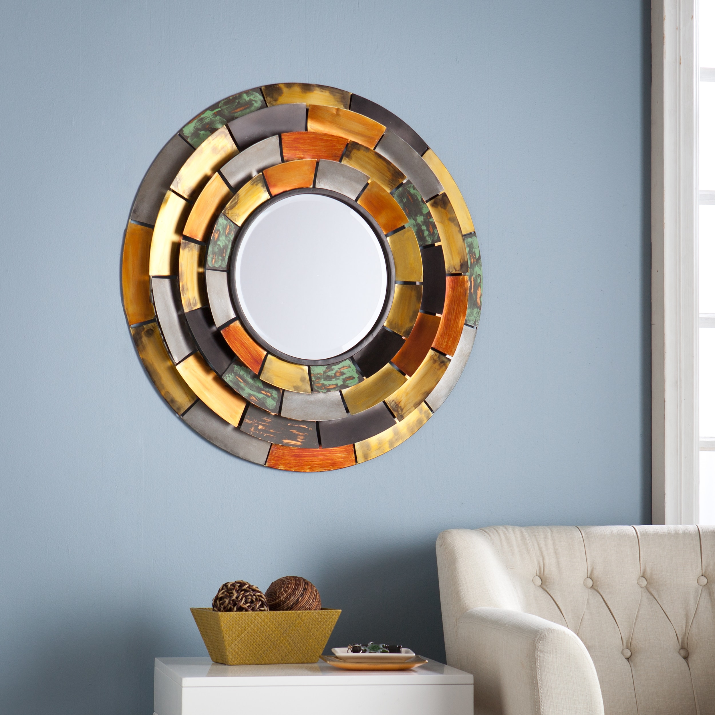 Harper Blvd Baxter Decorative Round Mirror with Multicolored Tiered Edges