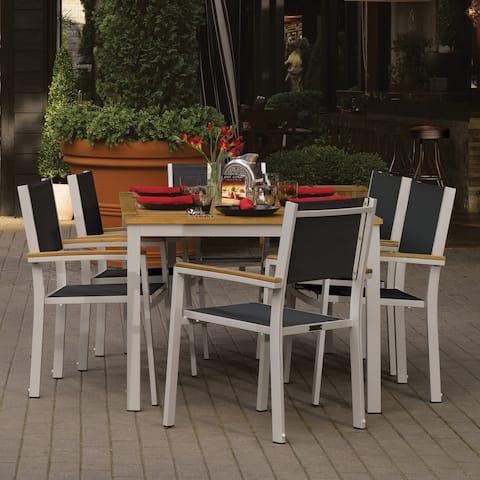 Oxford Garden Travira 7 Piece Natural Tekwood Dining Set
