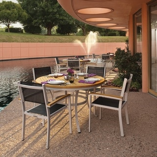 Oxford Garden Travira 5 Piece 48 inch Natural Tekwood Dining Set