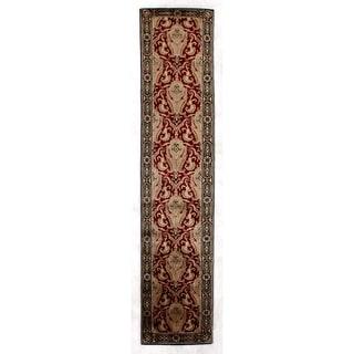 """Tibetan-Weave Red/ Gold Hand-spun New Zealand Wool and Silk Runner (2' 6"""" x 12')"""