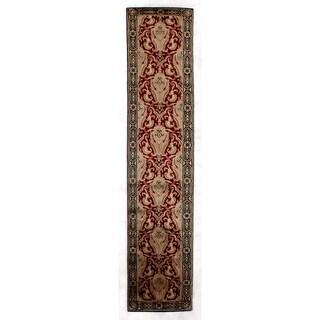 Exquisite Rugs Super Tibetan Red / Gold Hand-spun New Zealand Wool and Silk Runner Rug - 2'6 x 12'