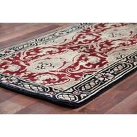 Exquisite Rugs Super Tibetan Red / Gold Hand-spun New Zealand Wool and Silk Runner Rug (2'6 x 10')
