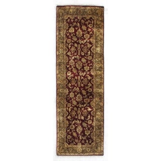 Exquisite Rugs Super Mashad Maroon / Green New Zealand Wool Runner Rug (2'6 X 12' Runner) - 2'6 x 12'