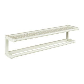 New Ridge Home Abingdon Linen Solid Birch Wood Towel Bar with Shelf