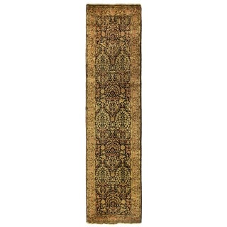 Exquisite Rugs Millefleur Navy / Green New Zealand Wool Runner Rug (2'6 X 10' Runner) - 2'6 x 10'