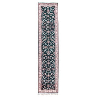 Exquisite Rugs Antique Indo Kashan Green / Ivory Wool Runner Rug (2'8 x 12')