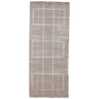 Geo Ivory wool/art silk Rug (3'6 in. X 8' Runner)