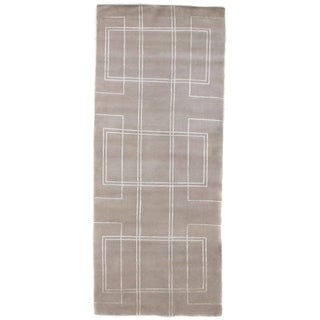 Exquisite Rugs Geo Ivory New Zealand wool and silk Runner Rug (3'6 x 8')