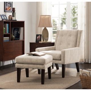 Oscar Vintage Creme Chair and Ottoman