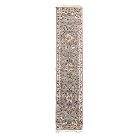 Exquisite Rugs Floral Grey / Ivory Hand-spun Wool Runner Rug - 2'6 x 12'