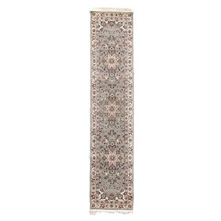 Exquisite Rugs Floral Grey / Ivory Hand-spun Wool Runner Rug (2'6 x 12')