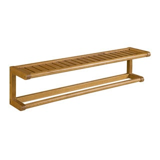 New Ridge Home Abingdon Cinnamon Solid Birch Wood Towel Bar with Shelf