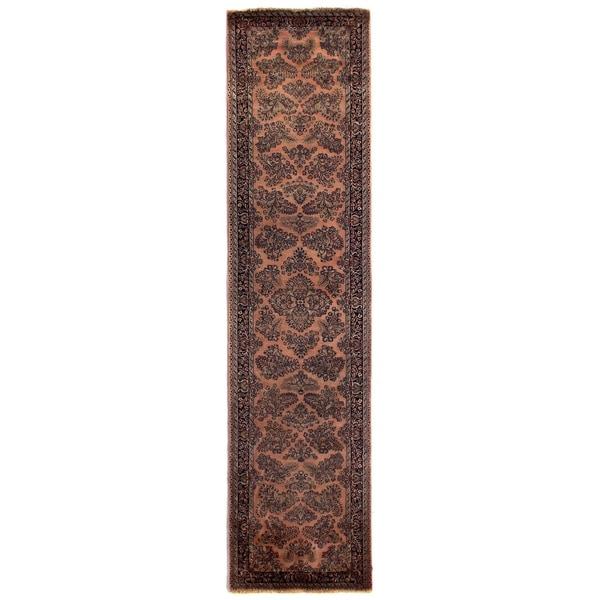 Shop Exquisite Rugs Fine Sarouk Peach Navy Wool Runner Rug 3 X