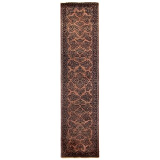 Exquisite Rugs Fine Sarouk Peach / Navy Wool Runner Rug (3' x 12')