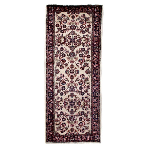 Exquisite Rugs Fine Sarouk Ivory / Navy Hand Spun Wool Runner Rug (2'7 x 6'5)