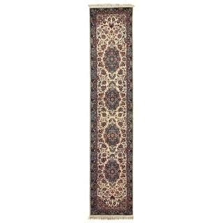 Exquisite Rugs Fine Kashan Ivory / Aqua Hand Spun Wool Runner Rug (2'6 x 12' Runner) - 2'6 x 12'