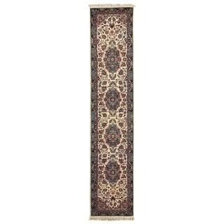 Exquisite Rugs Fine Kashan Ivory / Aqua Hand Spun Wool Runner Rug (2'6 x 12')