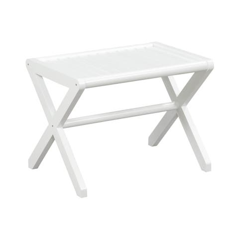 NewRidge Home Abingdon Solid Birch Wood White Large Stool in Color Options