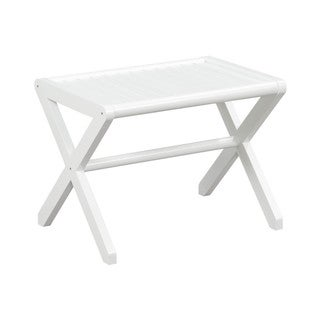 New Ridge Home Abingdon Solid Birch Wood White Large Stool