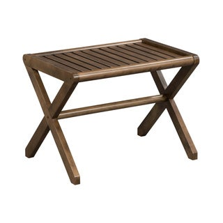 New Ridge Home Abingdon Solid Birch Wood Antique Chestnut Large Stool