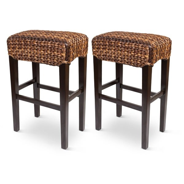 Birdrock Home Seagrass Backless Barstools - Set of 2 - Free ...