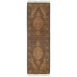 Exquisite Rugs Bijar Ivory / Black New Zealand Wool Runner Rug - 2'6 x 8'