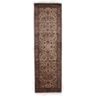 Agra Wheat/Brown New Zealand Wool Rug (2'6 in. X 8' Runner)