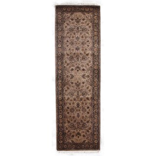 Exquisite Rugs Agra Wheat / Brown New Zealand Wool Runner Rug - 2'6 x 8'