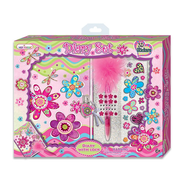 Hot Focus Flower Meadow Diary Set with 3D Stickers