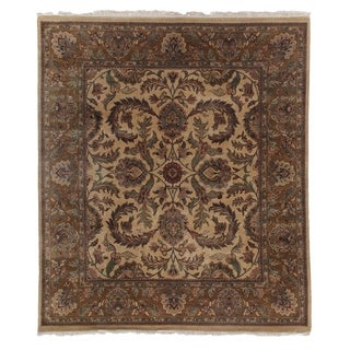 Agra Gold/Brown New Zealand Wool Rug (6' X 9')