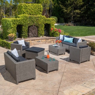 Puerta Outdoor 9-piece Wicker Sectional Sofa Set with Cushions by Christopher Knight Home