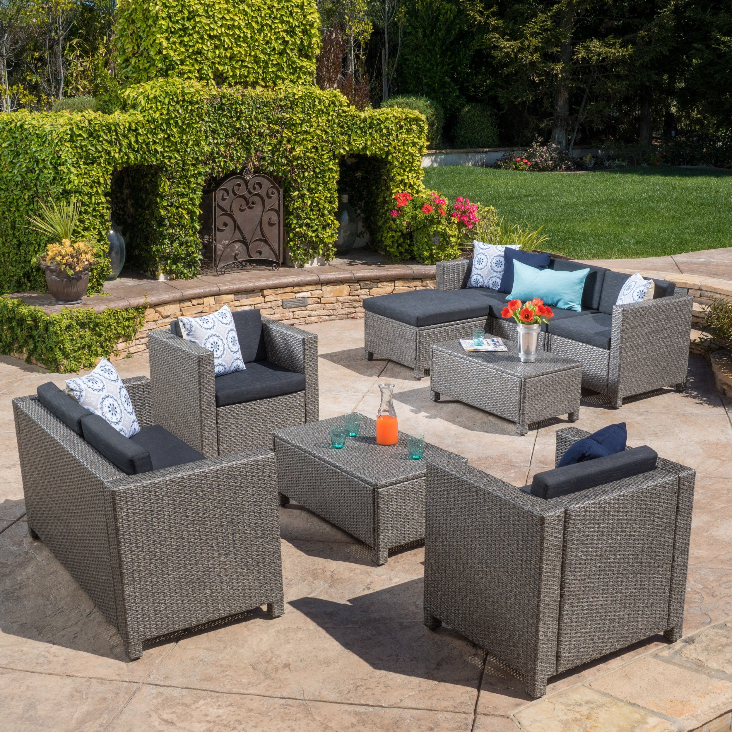 Details About Puerta Outdoor 9 Piece Wicker Sectional Sofa Set With