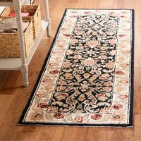 Safavieh Hand-hooked Easy to Care Black/ Ivory Rug (2' 6 x 10')